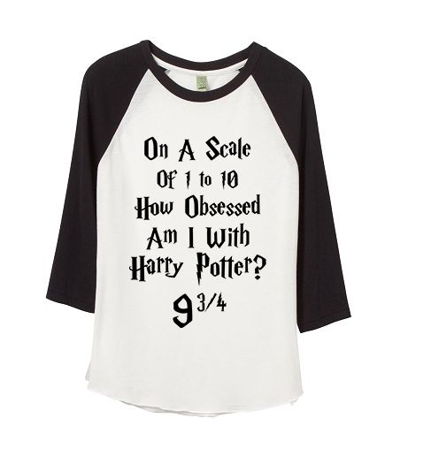 funny graphic tee -  on a scale of 1 to 10 how obsessed am i with Harry Potter 9 3/4 - Kids Babies Adults Baseball ringer tee
