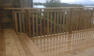 Pine balustrade handrail, creative design.