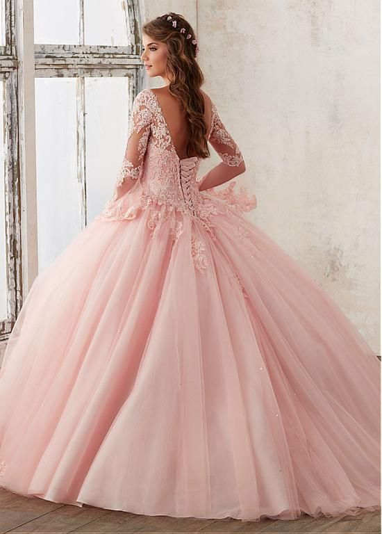 Marvelous Tulle V-neck Neckline Ball Gown Quinceanera Dresses With Beaded Lace Appliques