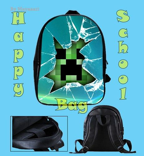 Custom School Bag - Minecraft Creeper Glass Broken Bag This high-quality  school bag is the perfect accessory for school children. Made from high-grade PU leather. It is the perfect way for children t