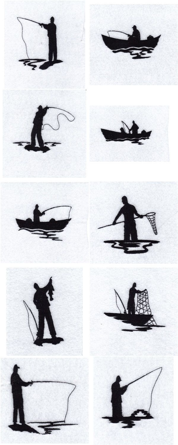 fisherman silhouette   Fisherman Silhouettes Embroidery Machine Design Details