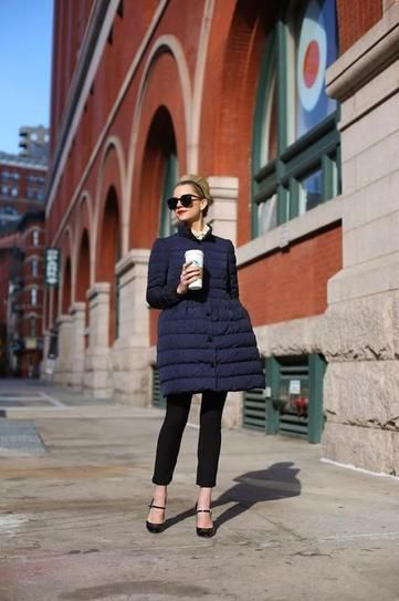 20 outfits that show puffer coats CAN be stylish - ladylike navy blue puffer coat with black skinny jeans and mary jane heels
