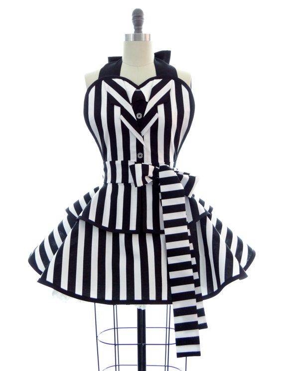 """Retro Apron - Black & White Striped """"It's Showtime"""" Sexy Womans Suit Apron - Vintage Apron Style - Undead Pin up Rockabilly Cosplay Lolita"""