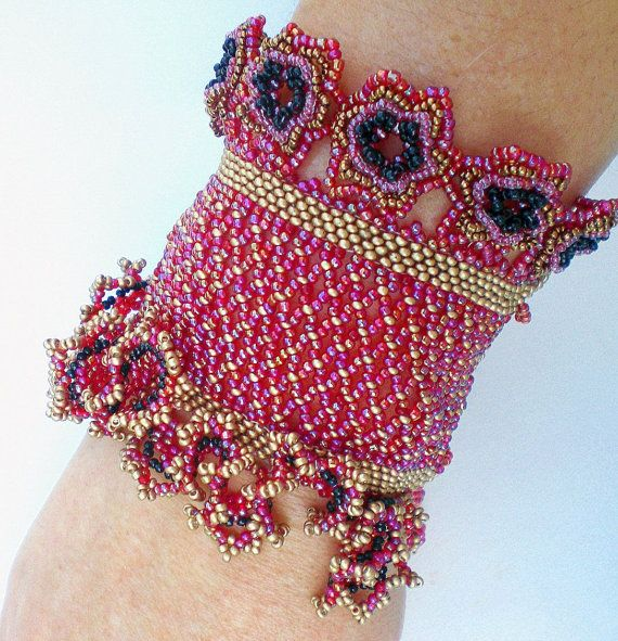 Cuff Bracelet Red Golden Black  Beadwoven Beaded by SpringColors, $80.00