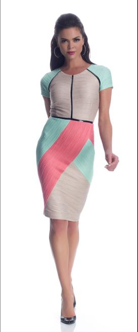 Shani Colorblock Ottoman Dress