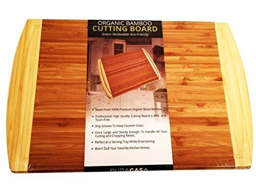 Bamboo Cutting Board-Large 18 X 12 Serving Platter-Beautiful Two-Tone Color With Drip Groove-Organic, ECO Friendly and Antimicrobial-Butcher Block Cutting Board-Thick and Strong-BPA and Toxin-Free  #AntimicrobialButcher #Bamboo #Berghoff #Block #BoardLarge #BoardThick #Color #Cutting #Drip #Friendly #GrooveOrganic #PlatterBeautiful #Serving #StrongBPA #ToxinFree #TwoTone cookwareview.com