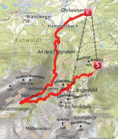 Karte / Vom Kreuzeck durchs Höllental (Höllentalklamm)