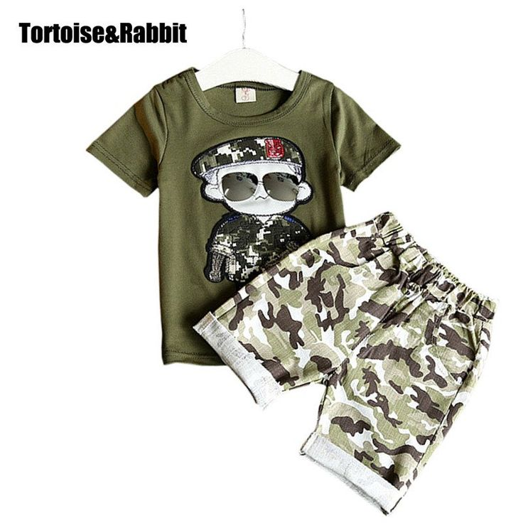 Boy Clothes  2pcs Short Sleeves T-Shirt Toddler Suits Camouflage Shorts