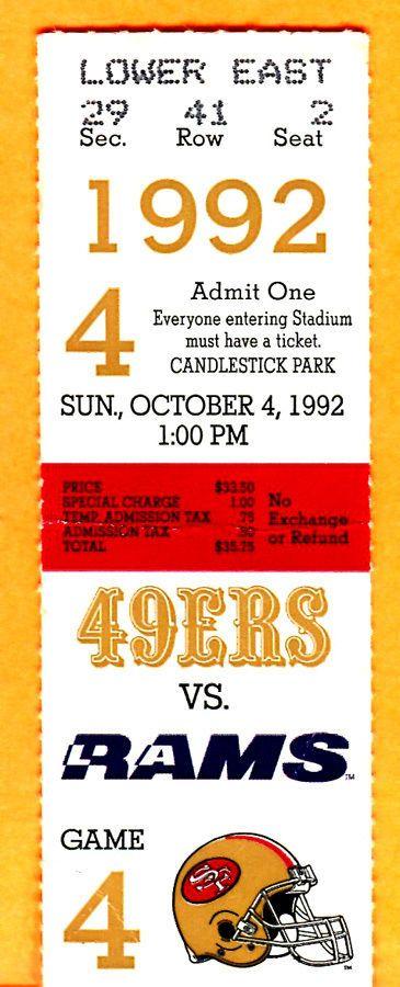 10/4/92 rams/49ers ticket stub-steve young 247 yds...jim everett 232 yds  from $12.5