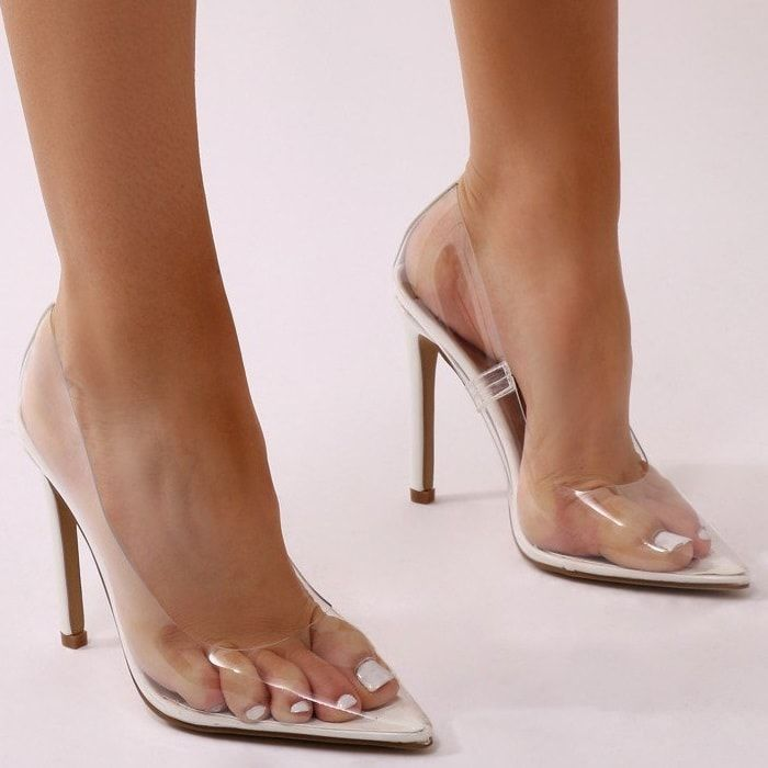 White Extra Perspex Pointy-Toe Clear Pumps | Clear heels