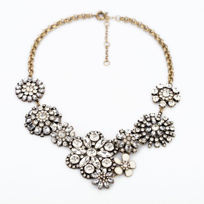 Free Shipping NWOT J. New Design Flower Lattice Crew Necklace Crystal Clear Bib Statement Women Luxury Necklace Christmas Gift-in Choker Necklaces from Jewelry on Aliexpress.com | Alibaba Group
