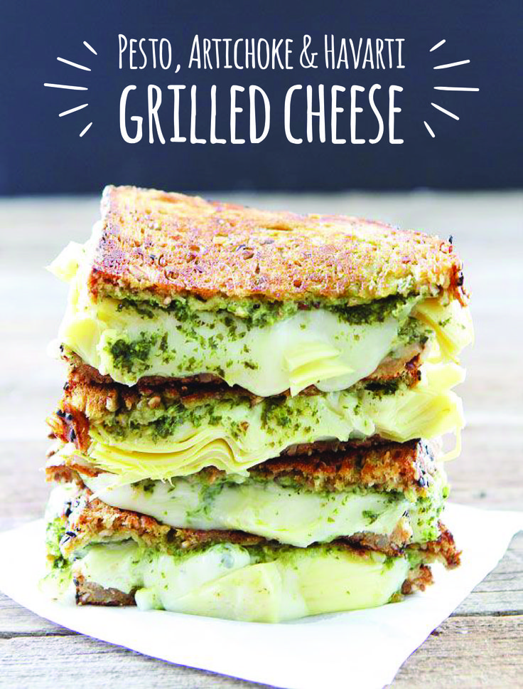 Kick up the flavor on the classic grilled cheese with spinach-basil pesto, artichokes and Arla Havarti for an extra-gooey #cheesepull. Plus, this recipe takes just minutes to make, perfect for a quick lunch or dinner.