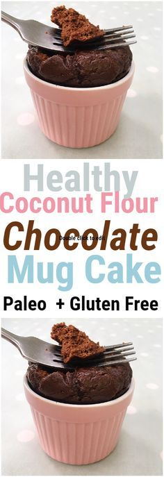 This healthy flourless chocolate mug cake is super fluffy and loaded with chocolate goodness to satisfy any chocolate and dessert craving! The ingredients are super nourishing and clean  coconut flour raw cacao powder maple syrup vanilla extract coconut oil almond milk and an egg. #paleo #paleorecipes #mugcake #chocolatecake #chocolate #cacao #coconutflour #glutenfree #healthy #healthyrecipes #healthydessert #healthydessertrecipes #glutenfree #glutenfreerecipe #healthyrecipes