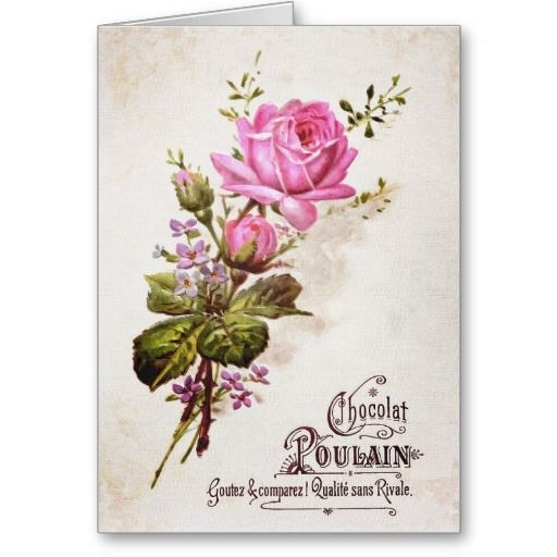 Chocolat Poulain Notecard. Vintage French chocolate advertisement. #pink #vintage #French