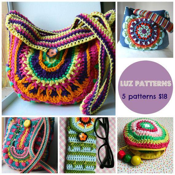 Crochet patterns, 5 crochet purse patterns sale, crochet mandala purse patterns, crochet coin purse patterns, crochet handbag pattern #crochetbagpattern #crochetpattern #crochetpurse