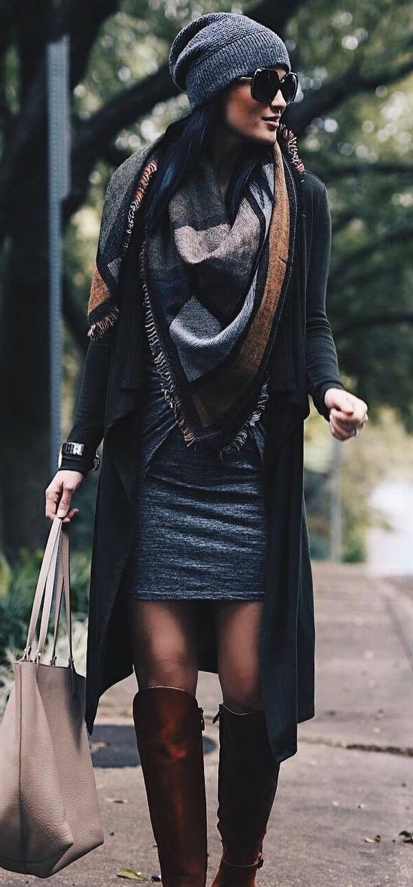 what to wear with a scarf : hat + coat + dress + bag + high boots