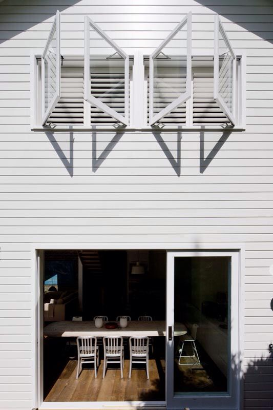 Architect Nadine Nakache . Photographer Simon Whitbread. Chalk white cladding. Interiors Rockinteriors by Keren Rockman