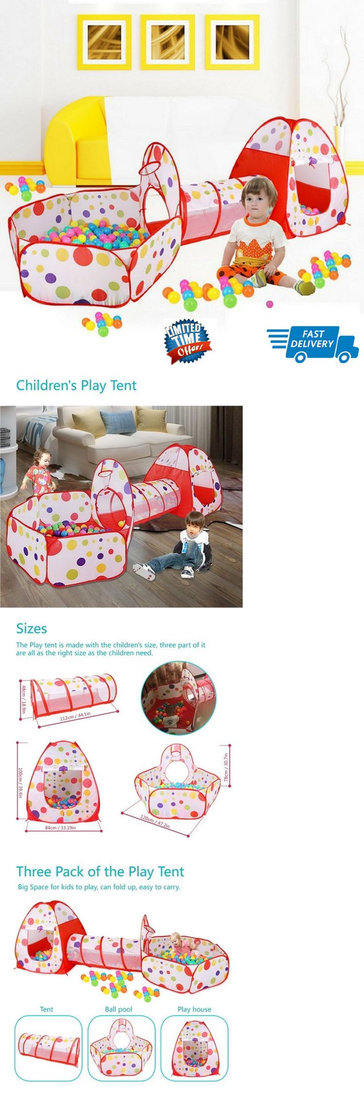 Developmental Baby Toys 100227: Baby Play Tunnel And Tent Ball Pit Toddler Toy Stages Indoor Outdoor Gamehouse W -> BUY IT NOW ONLY: $38.1 on eBay!