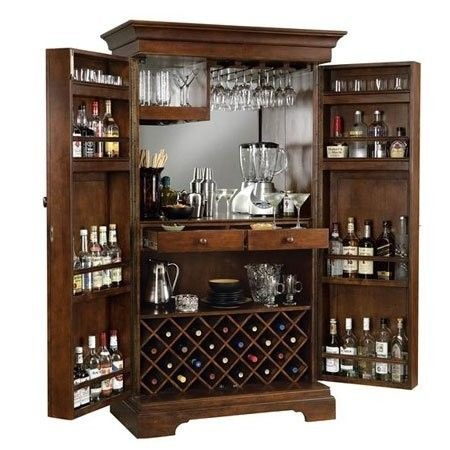 Cherry Wood Liquor Cabinet - Foter