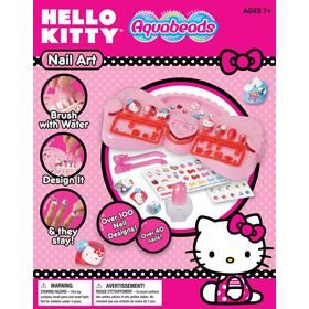 Create beautiful nails with Hello Kitty decorations and stickers. Simply brush the nails with water and the decorations stay! Set includes Hello Kitty decorative pieces, nail work table, over 40 nails, sticker sheet, rhinestone sheet, tweezers, nail bottle with brush and double-sided tape.