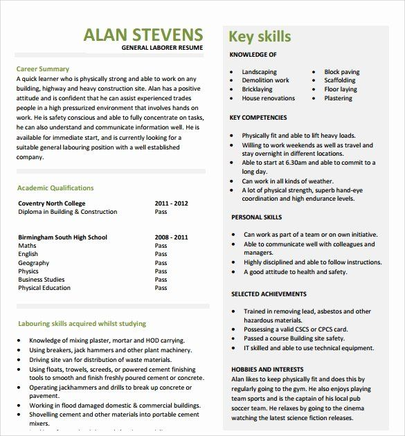 General Construction Worker Resume Awesome Sample Construction Resume Template 11 Free Documents Resume Resume Template Free Resume Template
