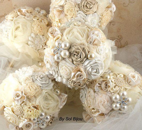 Broche en or Bouquets demoiselles d'honneur dentelle par SolBijou