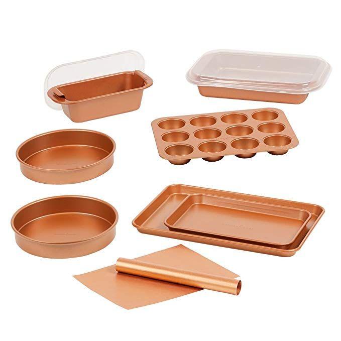 Amazon Com Copper Chef 12 Piece Elite Baking Pan Set 9 Inch Cake Pan X 2 Bbq Grill Mat Baking Mat Baking Pan Crisper Tray Copper Chef Pan Set Baking Pans