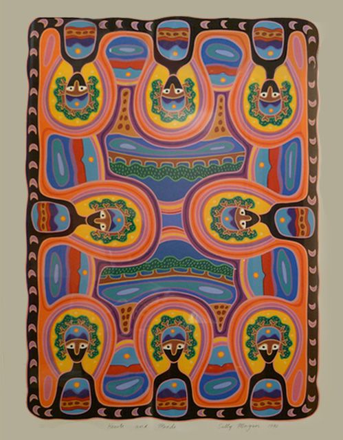 Popular children's author and artist, Sally Morgan, here with Hearts and Minds http://gallery.aboriginalartdirectory.com/aboriginal-art/sally-morgan/hearts-and-minds.php