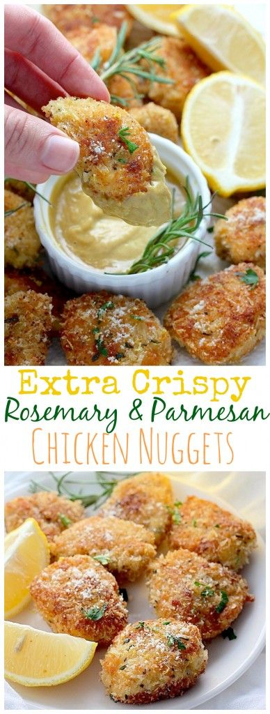 Rosemary Parmesan Chicken Nuggets - easy and SO delicious!
