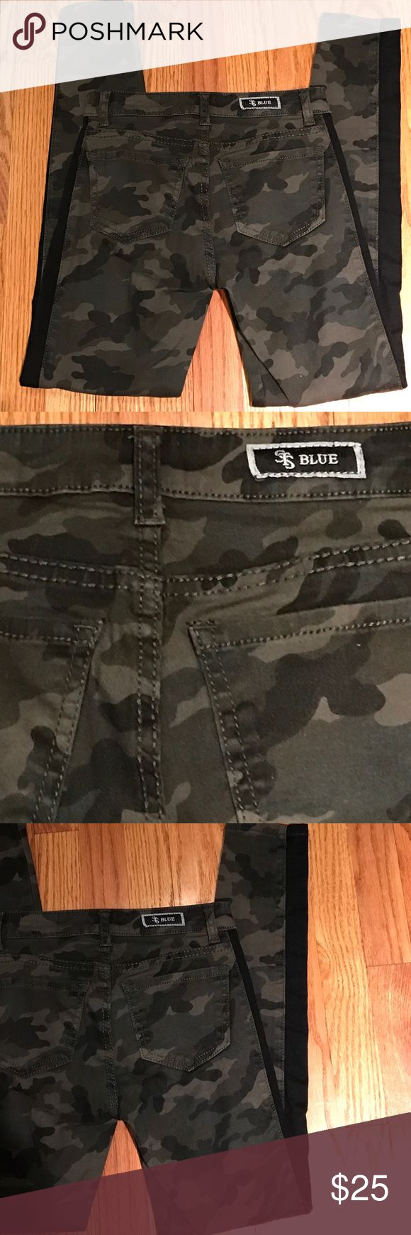 Sts blue 0 nordstroms camo skinny pants Sts blue 0 nordstroms camo skinny pants in like new clean condition. A little stretch of spandex in these pants. Black stripe down the sides.  Consigned to my boutique no trades. Waist is 12 inches laying flat. Inseam is 26.5 inches. STS blue  Pants Skinny