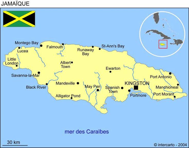 Carte géographique et touristique de la Jamaique, Kingston ...