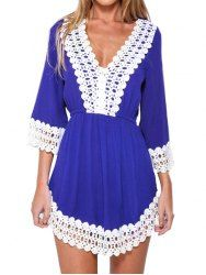 Stylish Three Quarter Sleeve Plunging Neck Fringe Embellished Women's Dress