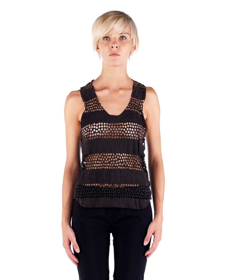 THE LOSER PROJECT Grey perforated tank top wide neckline side closure with buttons 100% Leather