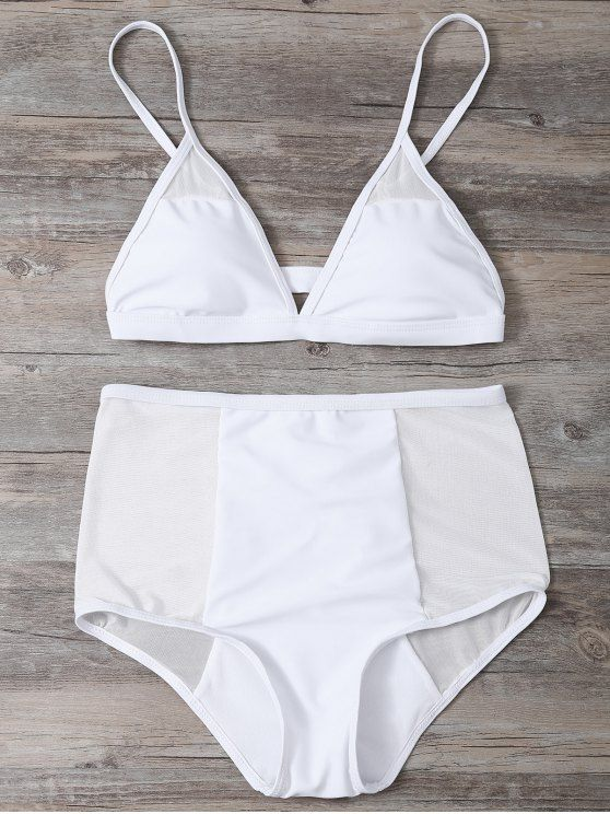 Low Cut High Waist Sheer Bikini Swimsuit - WHITE M Mobile