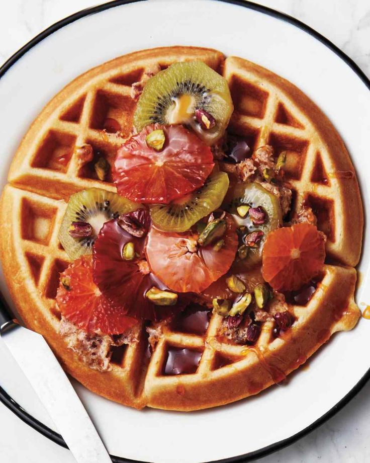Golden Waffles with Tropical Fruits | Recipe | Waffles ...