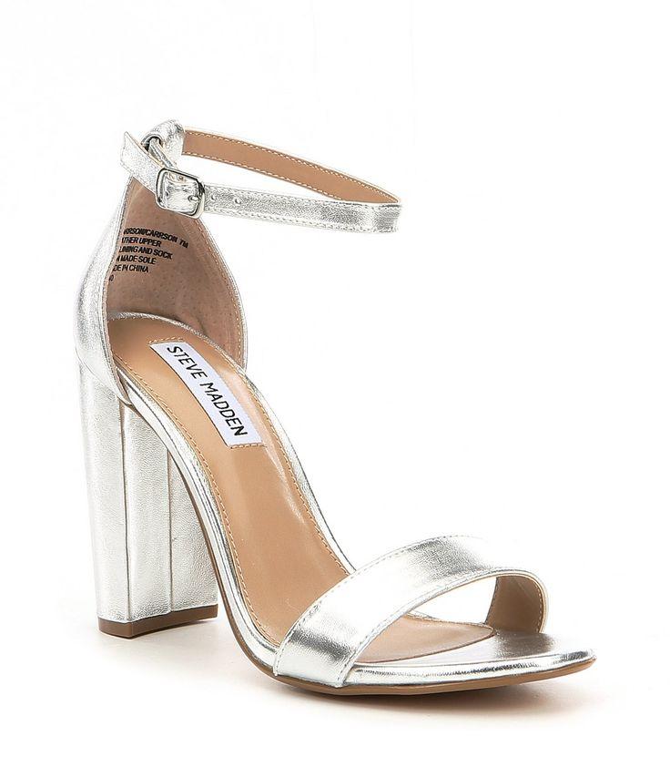 Steve Madden Carrson Leather Ankle Strap Block Heel Dress Sandals