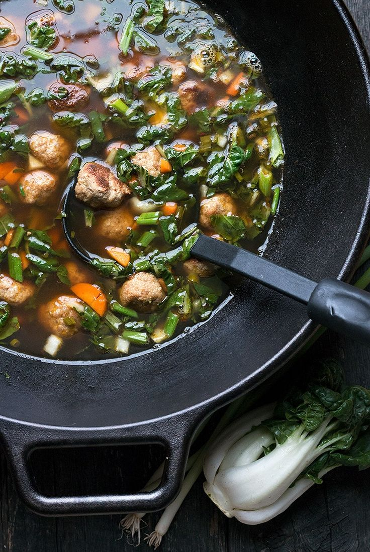 This Sesame Ginger Pork Meatball Soup with Bok Choy has the most delicious pork meatballs, combined with a delicious broth and lots of bok choy goodness. #meatballsoup #asiansoup #bokchoy