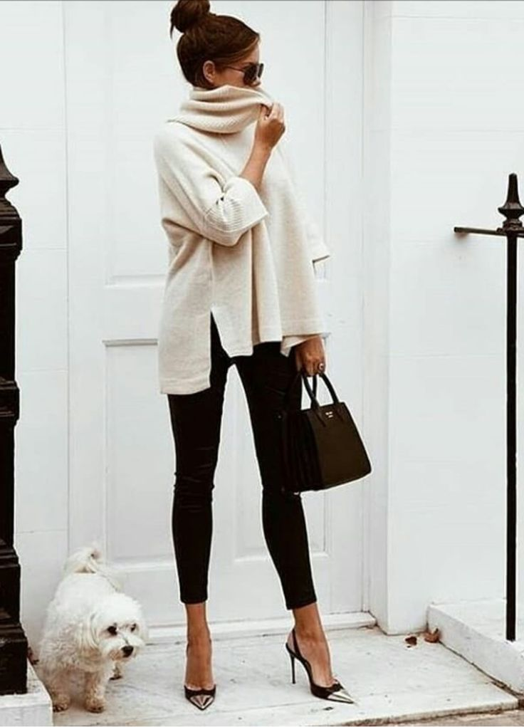 Easy winter outfit #blackdenim #sweater #white #pu…