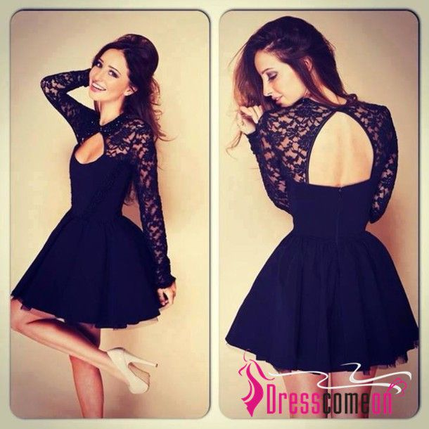 http://dresscomeon.storenvy.com/products/7503717-sexy-a-line-high-neck-long-sleeves-lace-backless-black-short-prom-dress-cock