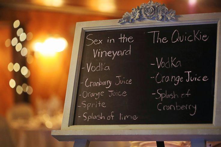 Vineyard Wedding Signature Drink on Mint Chalkboard. Vintage and Rustic wedding at Hernder Estate Wines