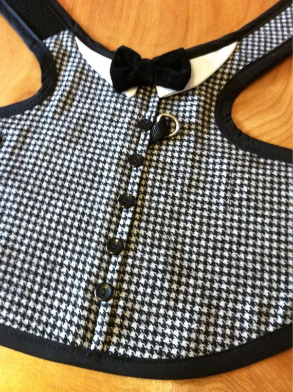 Dress Houndstooth dog Harness by CustomDogJacket on Etsy