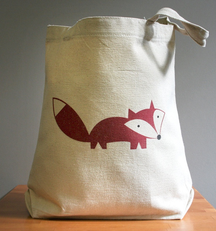 Canvas tote bag, fox, happy cute and adorable. Sturdy 100% 10oz. cotton canvas.. $16.00, via Etsy.