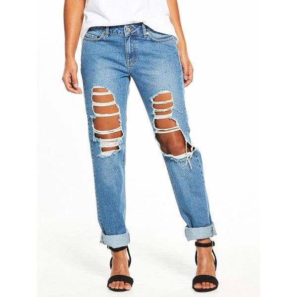 V By Very Emerie Extreme Ripped Boyfriend Jean ($46) ❤ liked on Polyvore featuring jeans, boyfriend jeans, destructed jeans, white destroyed boyfriend jeans, torn boyfriend jeans and white destroyed jeans