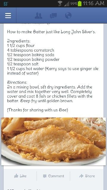 Long John Silver's batter recipe. Said pinner... tried this one too and it is really great...