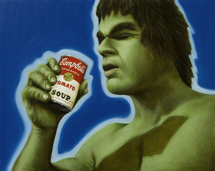The Incredible Hulk meets Andy Warhol Oil on Canvas.