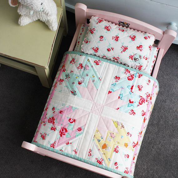 Quilted doll bed, Milk, Sugar, and Flower Fabric line by Penny Rose Fabrics