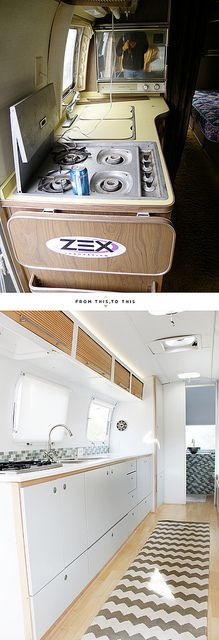 Amazing Airstream remodel. Can't decide if I like the kitchen or bathroom best! Love the before/after photos.