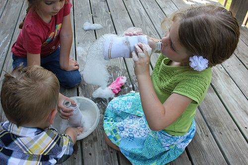 sock bubbles - easy and cheap.