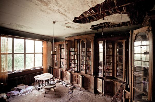 Decrepit Library In Abandoned Manor House At Site Where