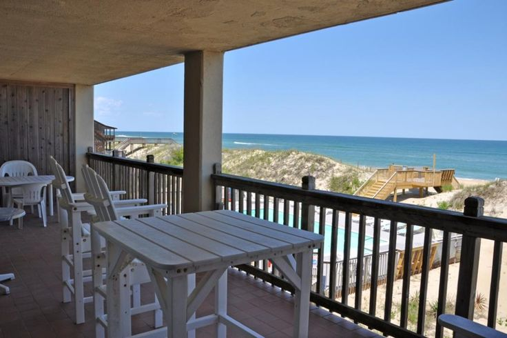 Heron Cove Hideaway | Nags Head Rentals | Village Realty. Oceanfront Outer Banks. 3 bedrooms. This property is well appointed with a community pool, elevator,jetted tub in the master bath, TVs, DVD players, an iPod dock, and WiFi. Guests have access to the storage closet below which includes beach chairs.  Non smoking, no pets. Bedrooms include a very large master suite with a King bed and an ocean view. There is also a twin sleeper sofa in the master suite.
